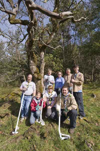 Scouts pulling broom for trip to Scotland